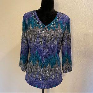 Cato large v neck embellished print blouse  poly C